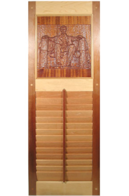 window shutters with carvings of an American president