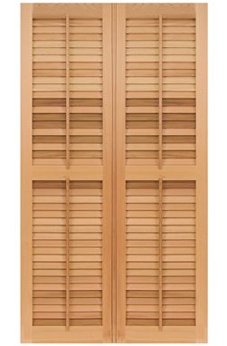 pair of wooden shutter panels with a partition in the middle