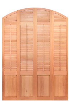 wooden shutter with curved top