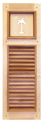 wooden window shutter with intricate detail